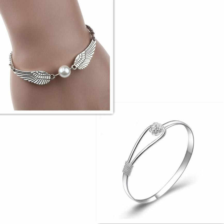 Silver Infinity Retro Pearl Angel Wings Jewelry Dove Peace Bracelet SL
