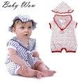 2016 New Unisex Baby Floral Romper Sailor Tie Children Clothing Summer Baby Boys Girls Lapel Collar Jumpsuit Flower Hat tyh50383