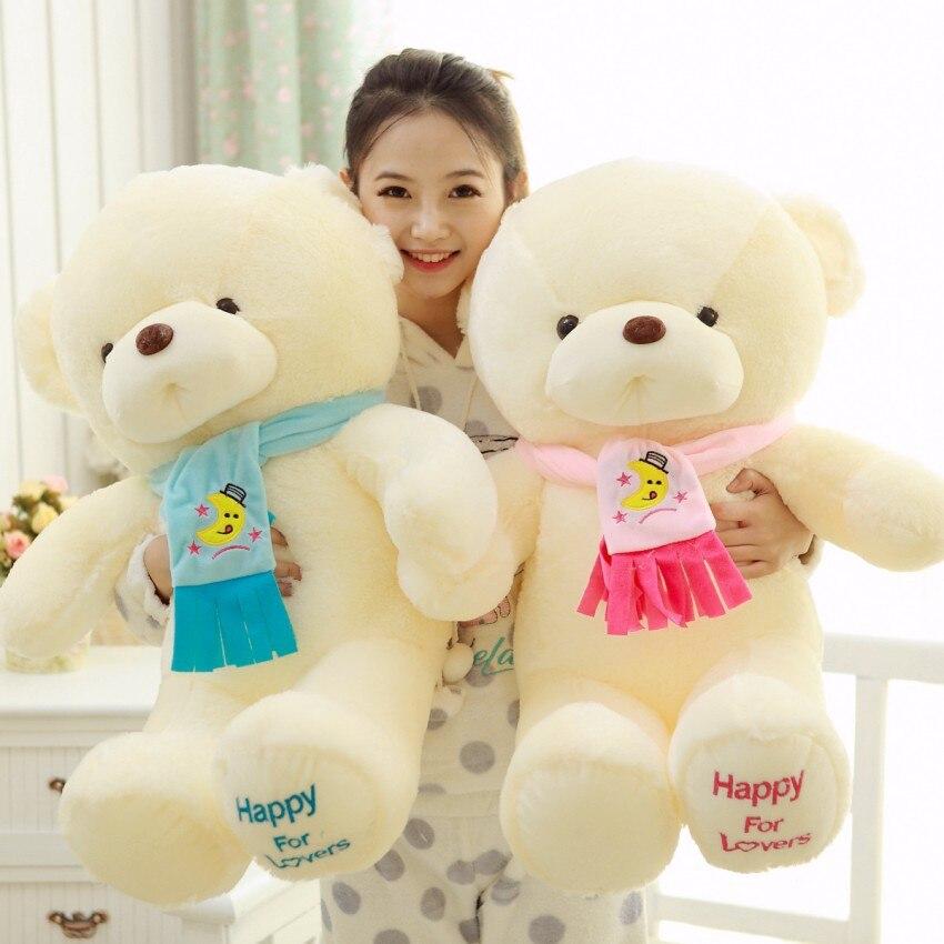 Высокое качество 30 см розовый голубой плюшевый медведь с шарфом мягкая Животные медведь плюшевые игрушки Teddy Bear любителей кукла рождения по... ...