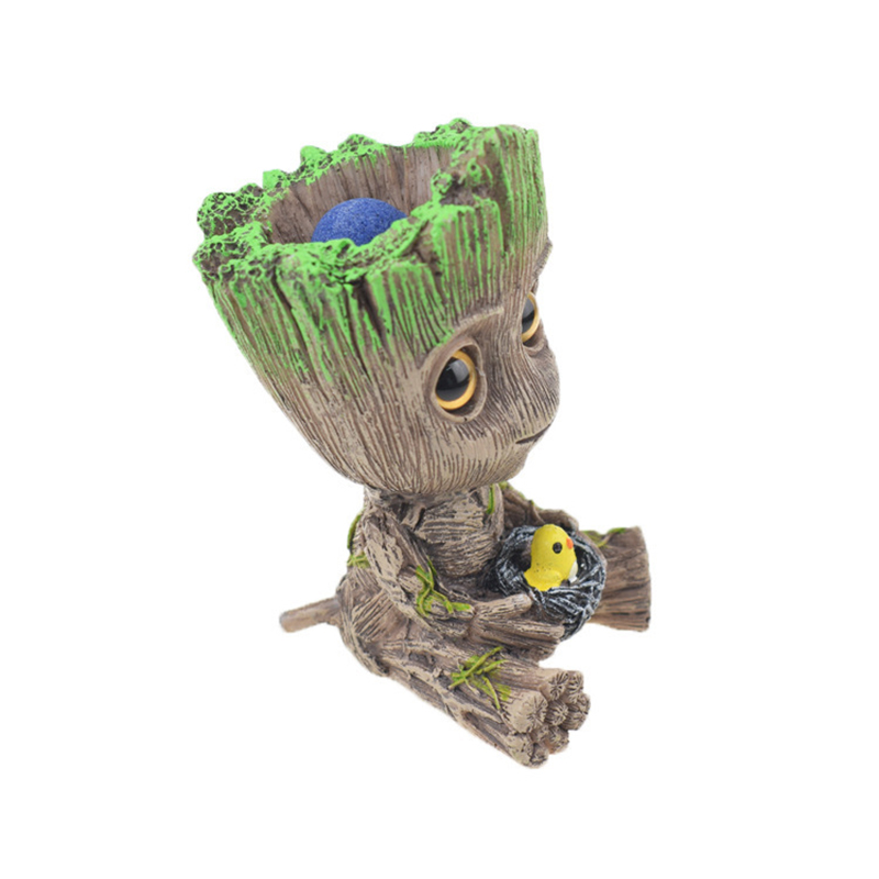 Cute Tree Man Figurine Garden Aquarium Decoration Root Air Bubble Driftwood Statue Fish Tank Background Ornament Rock Shelter4