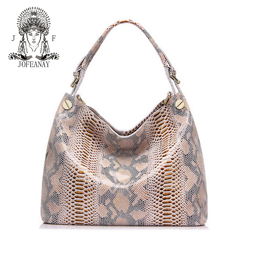 Фотография Jofeanay brand women handbag genuine leather tote bag female classic serpentine prints shoulder bags ladies handbags messen