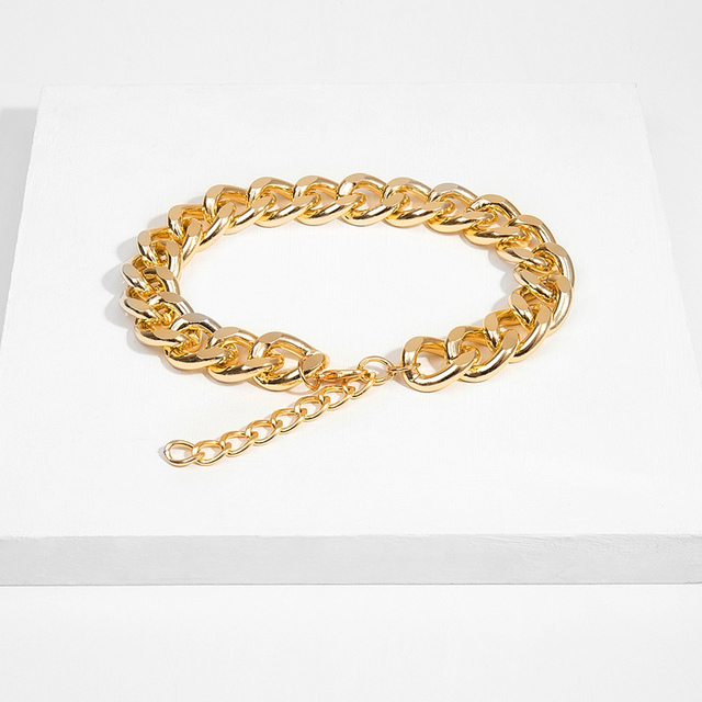 Punk Miami Cuban Choker Necklace Collar Statement Hip Hop Big Chunky Aluminum Golden Thick Chain Necklace Women Jewelry 4