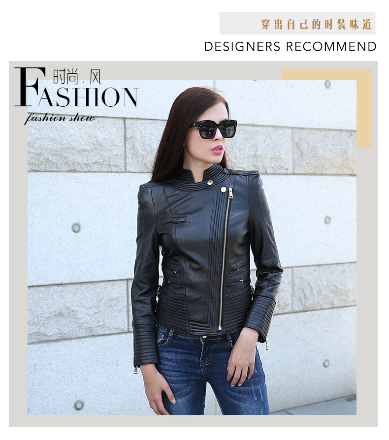 Free Shipping,casual Fashion 100% Genuine Leather Women Slim Jackets.Asian Plus Size Female Casual Sheepskin Jacket Cool