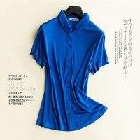Big Size Loose Short Sleeved Pure Silk Shirt, Female Collar, Heavy 100% Silk T shirt.