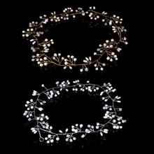 Luxury Wedding Bridal Rhinestone Faux Pearl Headband Tiara Hair Chain Headpiece faux pearl gathered chunky knit headband