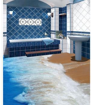Malowanie spryskiwania wodą morską salon podłoga w pomieszczeniu łazienka Mural-3d tapeta z PVC Self-przylepne na podłogę Wallpaper-3d tanie i dobre opinie wodoodporne Ognioodporne Pochłanianie dźwięku izolacja cieplna Odporna na dym Odporne na wilgoć Dźwiękoszczelne Antystatyczna