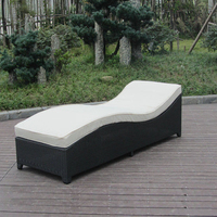 Army Green Rattan Sun Lounger With White Cushion And Aluminum Frame to sea port by sea