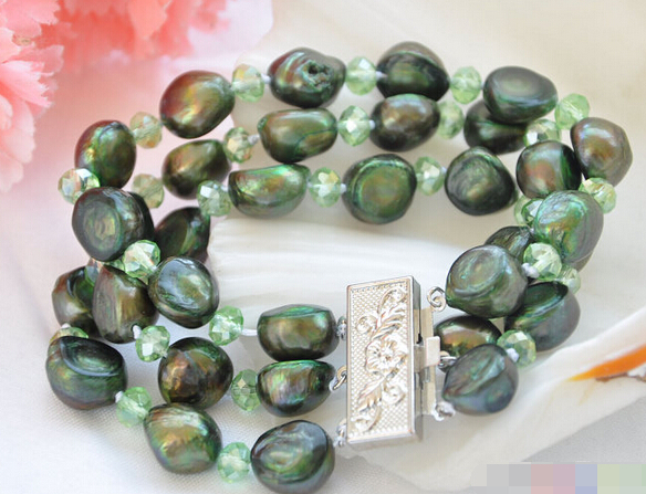 FREE SHIPPING>>>@@ > 01216 3row green baroque freshwater pearl faceted crystal bracelet