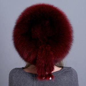 Image 5 - Winter Women Fur Cap Real genuine natural Fox Fur Hats Headgear Russian Outdoor Girls Beanies Cap ladies warm fashion cap