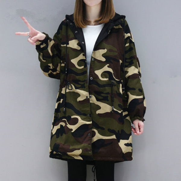 Camouflage Women Long Winter Women Double Sided Wear Thick Hooded Coat Maternity Outerwear Pregnancy Clothing slim fit ruffle long sleeved hooded quilted coat for women