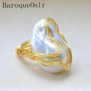 Image 1 - BaroqueOnly Handmade 15 30mm Big Baroque Beads Wire Wrapped Rings Natural Freshwater White Pearl Fashion Woman Party Jewelry ROA