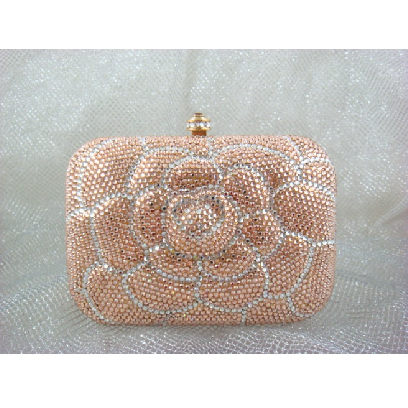 ФОТО 7707 Crystal Peach / White Floral Flower Lady Fashion Bridal Party Night Metal Evening purse handbag clutch bag