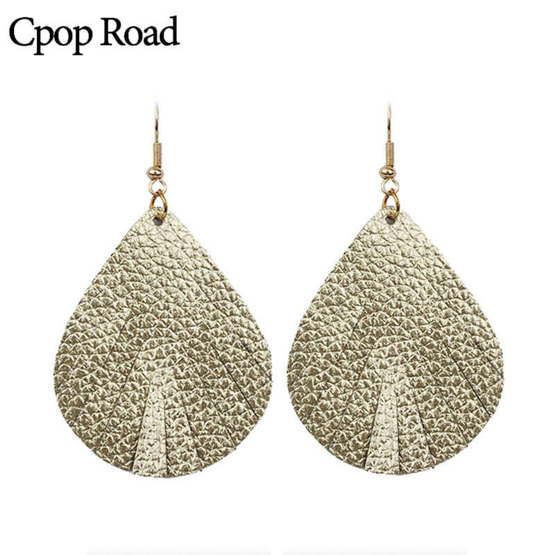 Cpop Teardrop Shiny Leather Earrings for Women Blue Simple Water Drop Earrings Leather Jewelry Modern Accessories Gift 2019 New