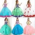 Das meninas pageant vestidos Appliqued Colher Glitz Comunhão Partido Prom Princesa Flor Meninas Vestem Para As Crianças g15