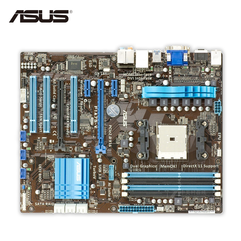 Asus F1A75-V Desktop Motherboard A75 Socket FM1 DDR3 64G SATA3 USB3.0 ATX for gigabyte ga a75 d3h original used desktop motherboard for amd a75 socket fm1 for ddr3 sata3 usb3 0 atx