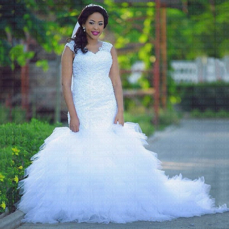Rivini Lace Tiered Wedding Gown: New Arabic African Tiered Ruffles Mermaid Wedding Dress