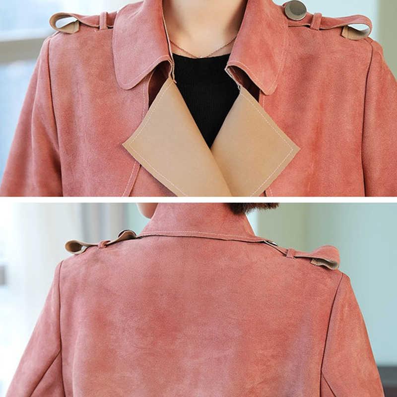 2019 новый осенний плащ с принтом Женская Длинная Элегантная верхняя одежда женское пальто тонкое с поясом замшевый кардиган ветровка пальто R567