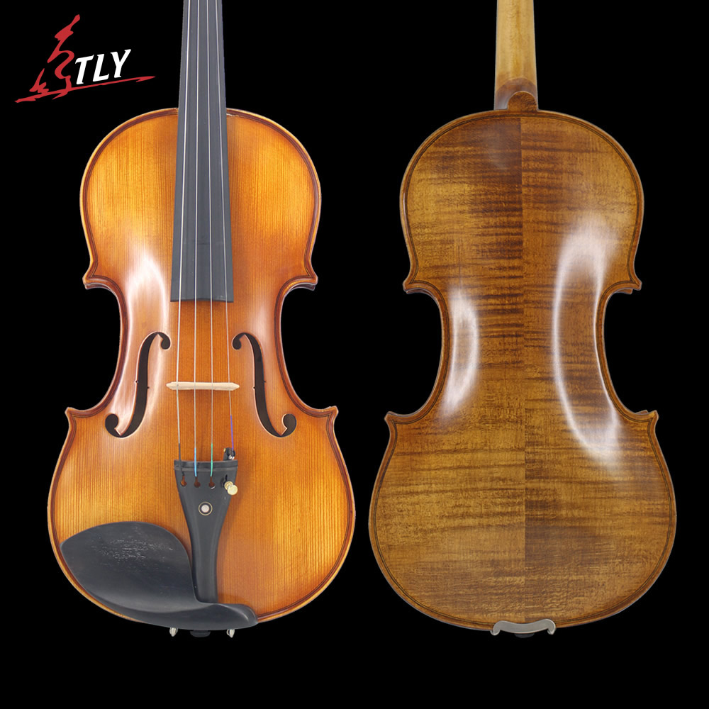 Tongling tamanho completo natural flamed maple mão-ofício avançado violino spuce rosto ébano equipado com/caso arco rosin mudo