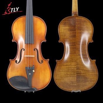 TONGLING Full Size Natural Flamed Maple Hand-craft Advanced Violin Spuce Face Ebony Fitted w/ Case Bow Rosin Mute