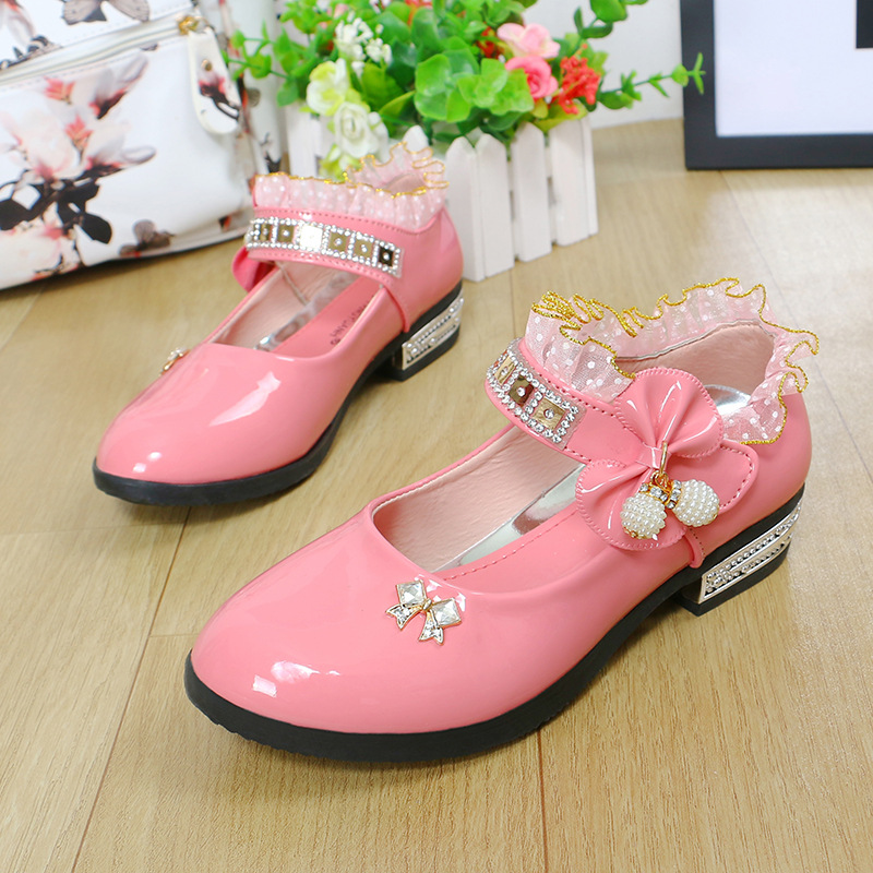 2018 Cute Bow Little Girls Wedding Shoes Party Bottom Pu Leather Lace Toddler Children Pink Shoes for Dresses