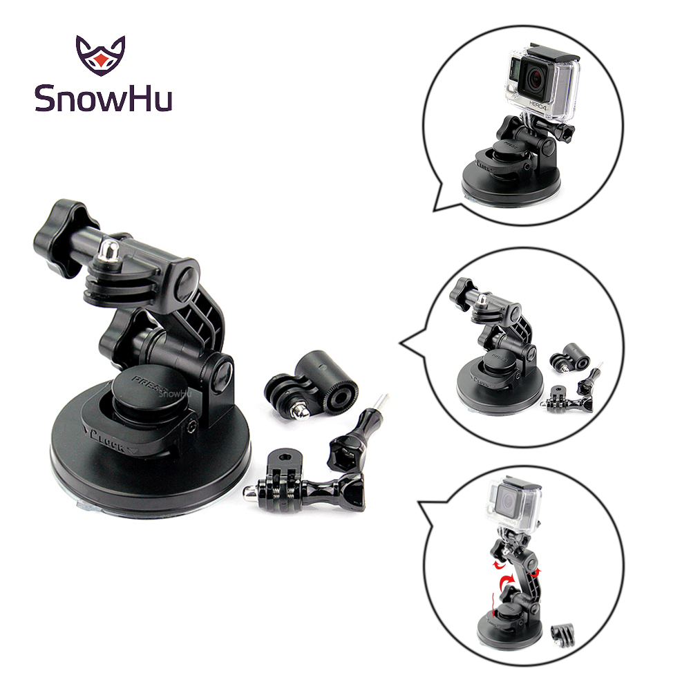 SnowHu for gopro accessories Top Strong Chuck Suction Cup as the original one for go pro hero 5 4 3+ SJ4000 xiaomi camera GP106 3 suction cup car adapter holder for gopro hero 3 3 2 1 sj4000