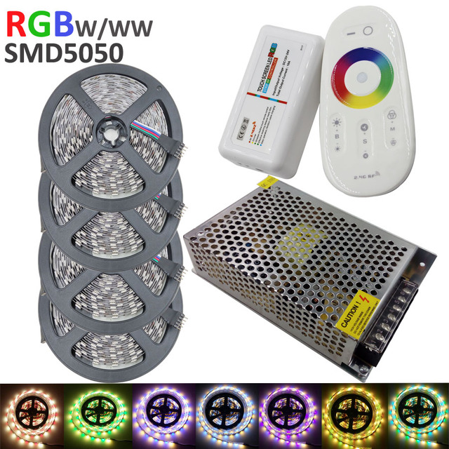 5050 RGBW LED Strip 20m + 2.4G Touch controller DC12V 60LED/m RGBW / RGBWW Flexible LED Light +15A Power supply AC110/240V Set