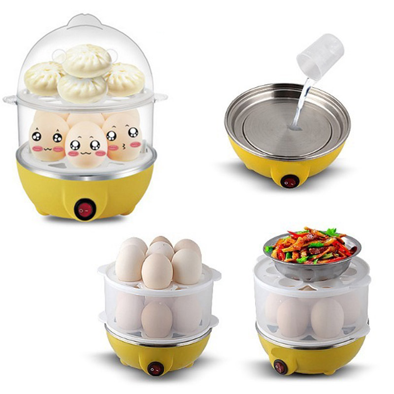 Multifunctional Electric Boilers 2-Layer Rapid Egg Cooker Steamer Egg Poacher Boiler 14 Egg Capacity Removable Tray HY99 MY2918