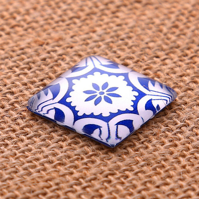 Blue White Porcelain Square Pattern Fit DIY Jewelry Making 1