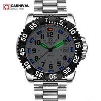 Лучший бренд класса люкс Тритий кварцевые часы с подсветкой мужские водонепроницаемые мужские спортивные часы Полный стали часы трития св
