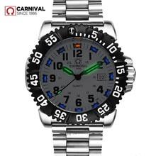 Часы мужские Кварцевые Светящиеся, брендовые люксовые водонепроницаемые спортивные стальные, с тритиевым светом