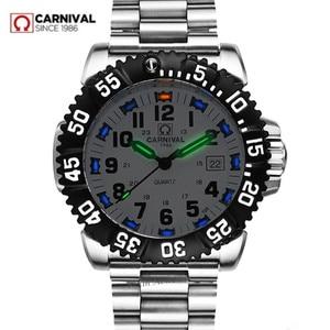 Image 1 - Top brand luxury tritium luminous quartz watch men waterproof sports men watches full steel clock tritium light uhren damen saat