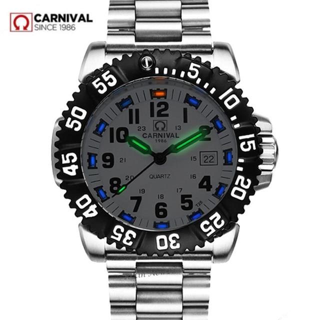 Top brand luxury tritium luminous quartz watch men waterproof sports men watches full steel clock tritium light uhren damen saat