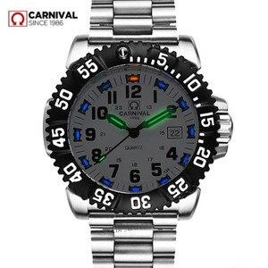 Image 1 - Top marka luksusowe tryt podświetlany zegarek kwarcowy mężczyźni wodoodporna sport mężczyźni zegarki pełna stal zegar tryt światła uhren damen saat