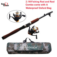 Fishing Reel And Rod Set with Spinning Reel and 2.1m Telescopic Fishing Rod Combo with Fishing Bags Fishing Tackle