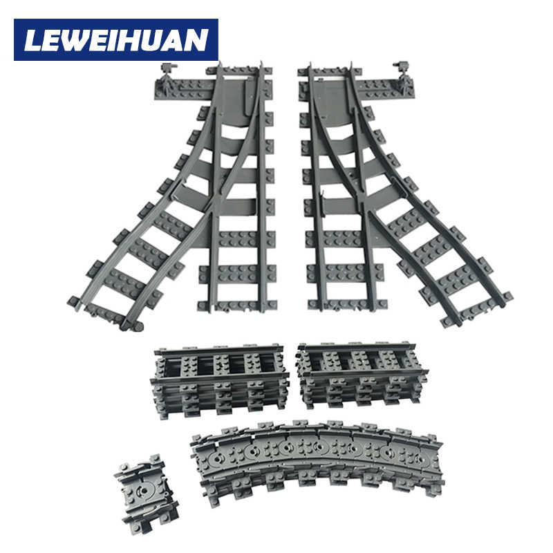 City Trains Train Flexible Track Rail Crossing Straight Curved Rails Model Building Blocks Set Brick Kids Toys Compatible Legoes