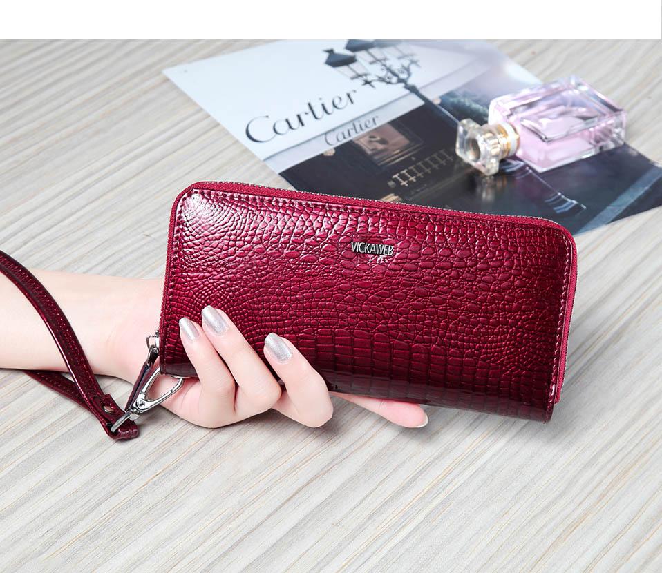 VICKAWEB Wristlet Wallet Purse Genuine Leather Wallet Female Long Zipper Women Wallets Card Holder Clutch Ladies Wallets AE38-005-1