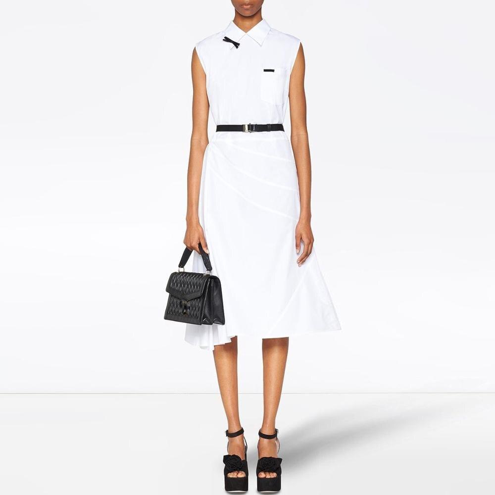 2019 été nouveau revers coton robe pression ligne froufrous chemise-robe noir papillon blanc robe