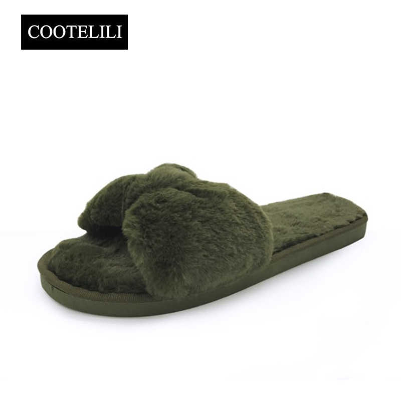COOTELILI Winter Fashion Women Home Slippers Faux Fur Warm Shoes Woman Slip on Flats Bowtie Female Slides Plus Size wholesale