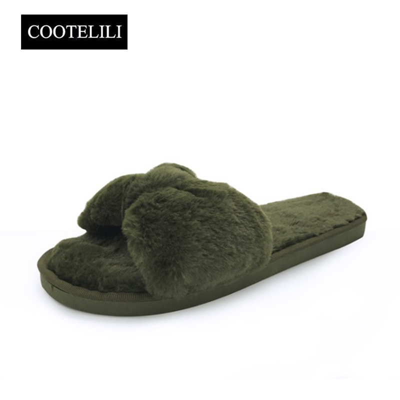 COOTELILI Winter Fashion Women Home Slippers Faux Fur Warm Shoes Woman Slip on Flats Bowtie Female Slides Plus Size wholesale designer fluffy fur women winter slippers female plush home slides indoor casual shoes chaussure femme