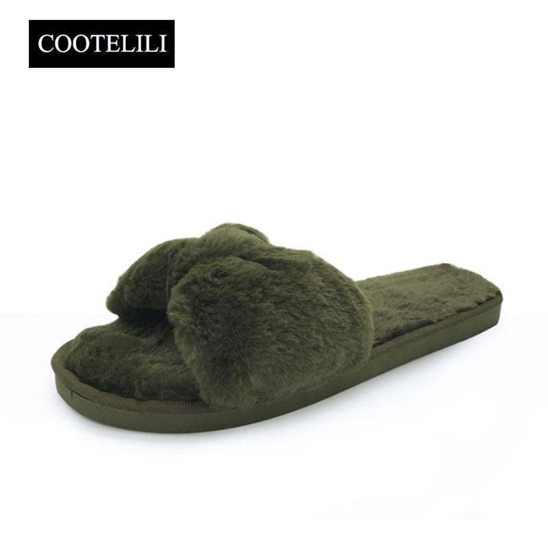 COOTELILI Winter Fashion Women Home Slippers Faux Fur Warm Shoes Woman Slip On Flats Bowtie Female Slides Plus Size Wholesale