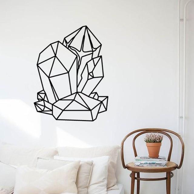 1350501804 Geometric GEMSTONES Wall Sticker Vinyl Removable Interior Design Stylish  Wall Decal Living Room Home Decor Monochrome Mural S047