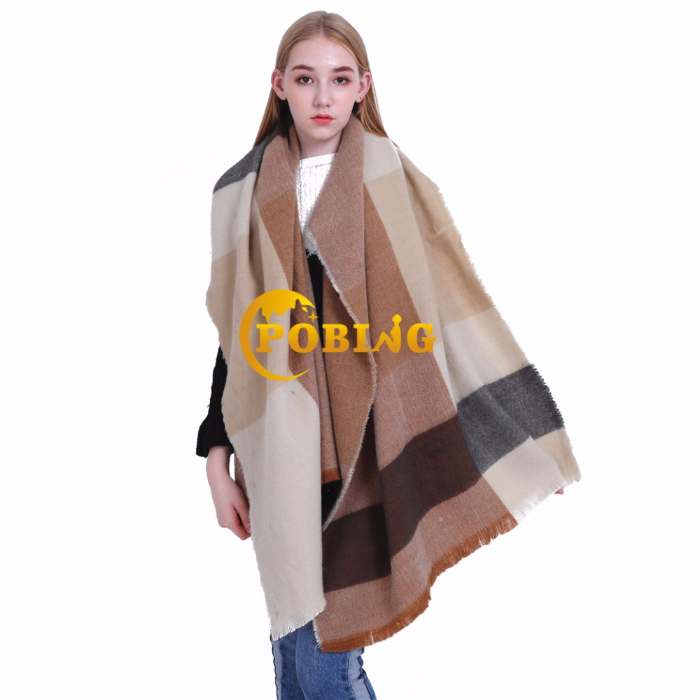 POBING 2018 za Winter   Scarf   Women Striped Plaid   Scarves     Wraps   Soft Wram Cashmere Shawl Long Pashmina Lady Blanket Stoles Poncho