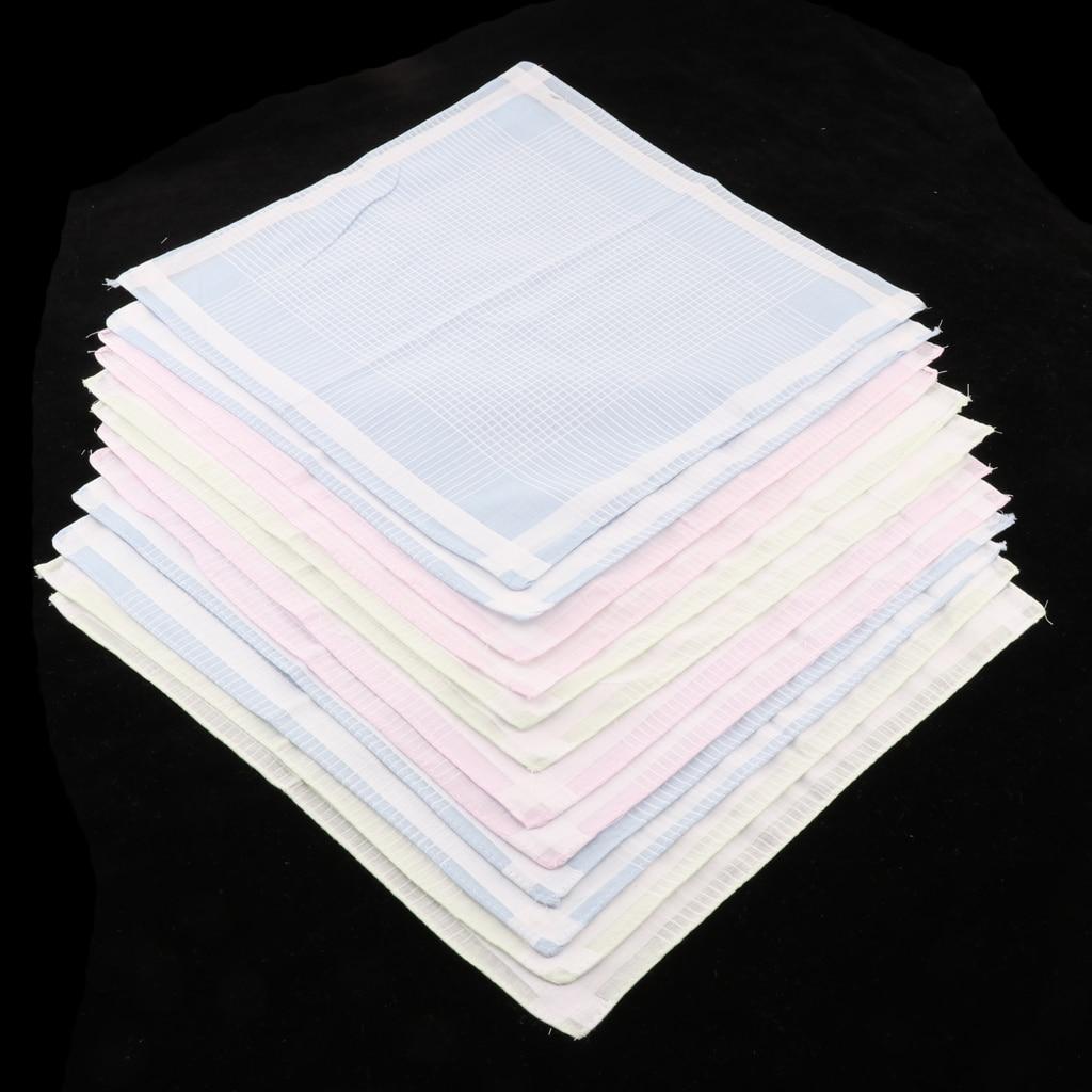 12pcs/set Multicolor Stripe Handkerchiefs Women Mens Classic Pattern Vintage Pocket Hanky 100% Cotton Plaid Handerchief