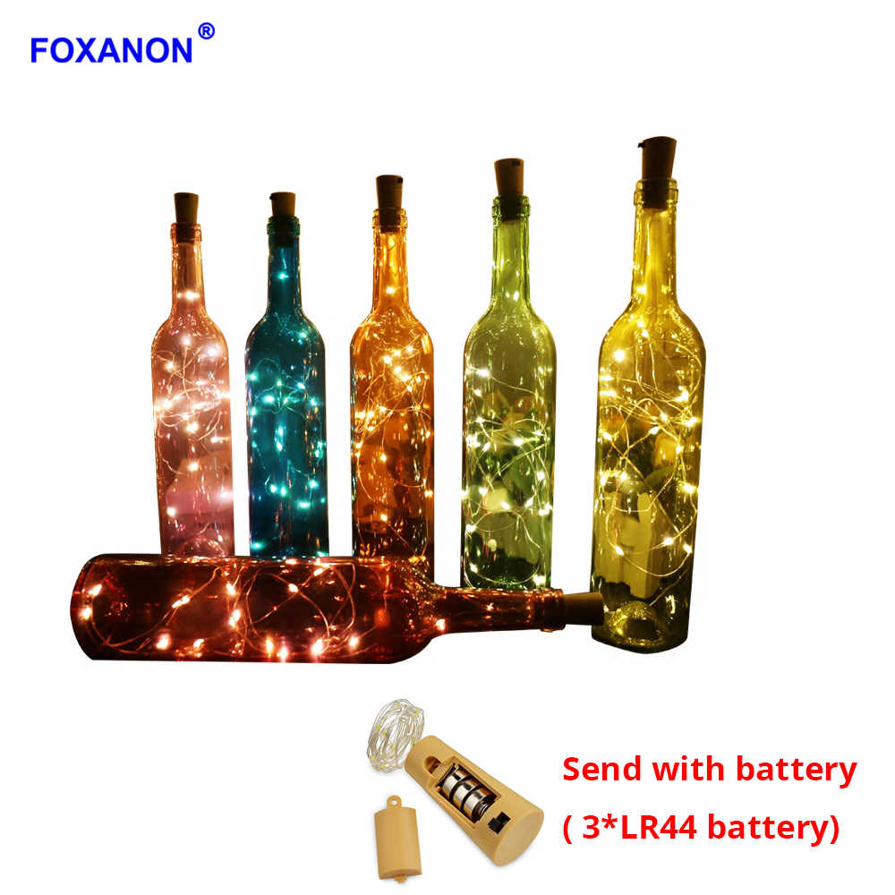 Foxanon Wine Bottle Light 75CM 1M 2M Cork Shape Battery Powered Copper Wire RGB Led String Holiday Lights DIY Christmas Wedding