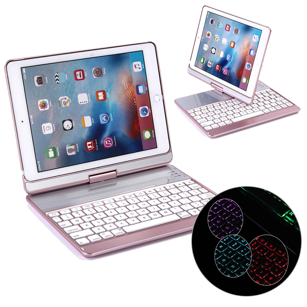 360 Degree Rotate 7color backlit Bluetooth keyboard For iPad 9.7 2017 & Pro 9.7 & Air & Air 2 ABS plastic Bluetooth keyboard yd k356 bluetooth v3 0 78 key keyboard 360 degree rotational abs case for ipad 2 3 4 white