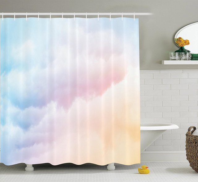 Fluffy Dreamy Gradient Faded Pastel Cloud Ethereal Fog Sublime Rainbow Featured Decor Polyester Fabric Bathroom