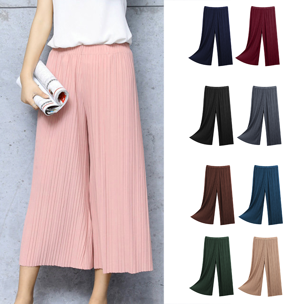 Summer Fashion New Women Ladies Pleated   Wide     Leg     Pants   Loose Solid Chiffon Trousers Stretch Waist Boho   Pants   OL Pantalon