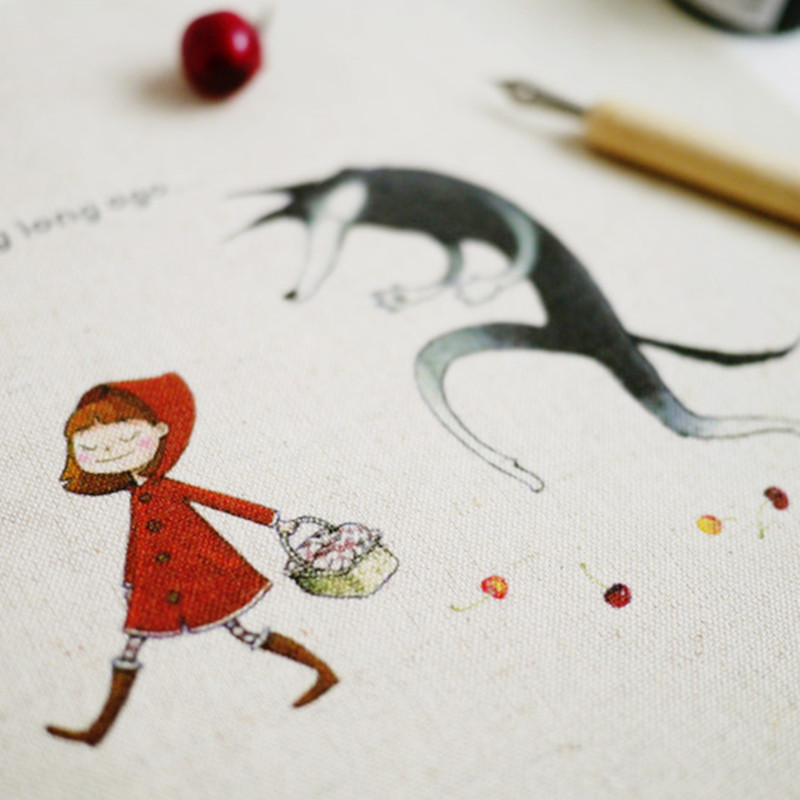 Zakka Multiple-Use Cotton Linen Fabric Hand-Painted Dyed THE LITTLE RED RIDING HOOD Home ...