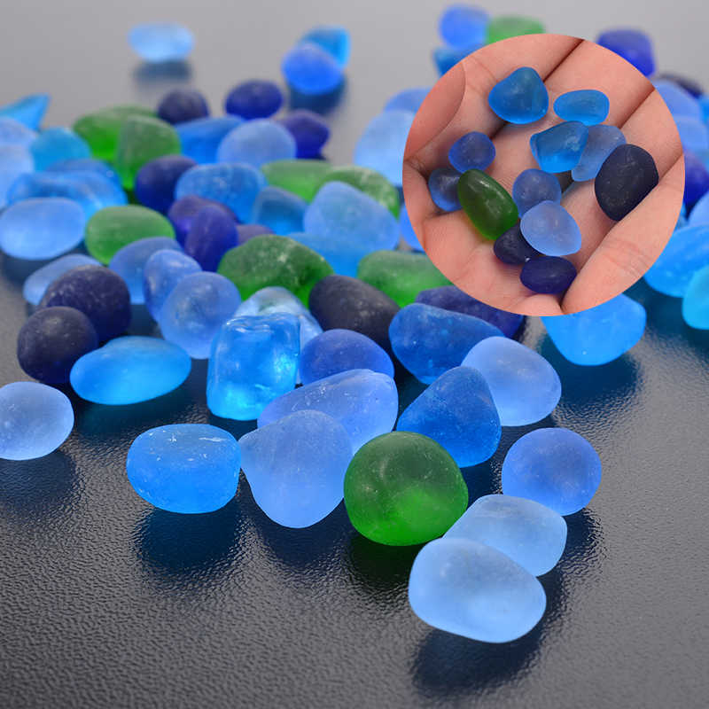 100pcs New Beach Glass Beads Blue Green Mixed Colors Jewelry Pendant Necklace 12-18mm Colorful Irregular Sea Glass Bead