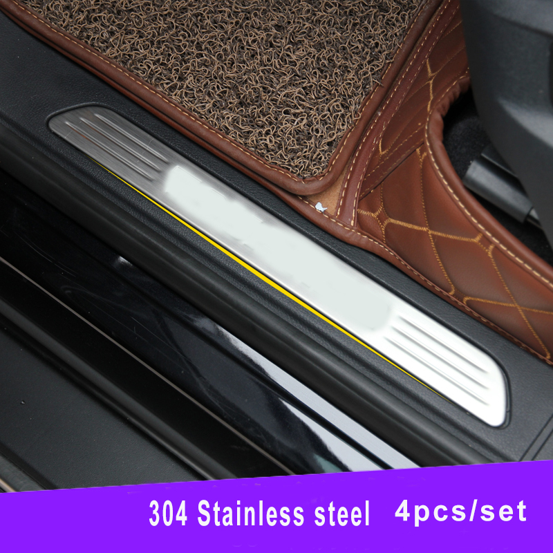 Stainless steel scuff plate Door sill sills Guards For VW TOUAREG 2011 2012 2013 2014 2015 car styling accessories free ship rear door of high quality acrylic moving led welcome scuff plate pedal door sill for 2013 2014 2015 audi a4 b9 s4 rs4